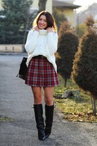 New Yorker skirt - choiescom boots - Sheinsidecom sweater