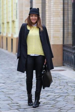 romwe sweater - PERSUNMALL boots - Romwecom coat - Romwecom hat - Zara pants
