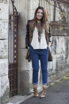 chicnova jeans - Mart of China boots - Stradivarius coat - chicnova blouse