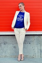 white tuxedo Anthony Vacarello suit - blue cotton Adidas Originals sweatshirt