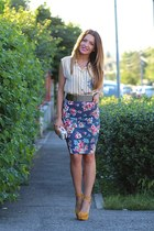 fashionsensero skirt - vintage shirt - meli melo bag - Zara sandals