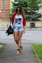 fashionup shorts - H&M bag - Diesel blouse - fashionup cardigan - Zara sandals