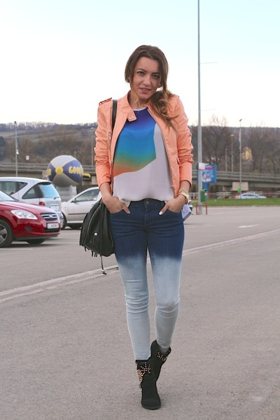 Zara jeans - Local store boots - H&M bag - c&a clogs - Zara blouse