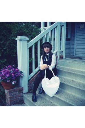black vintage dress - black vintage tie - white Club Monaco blouse - white Girl