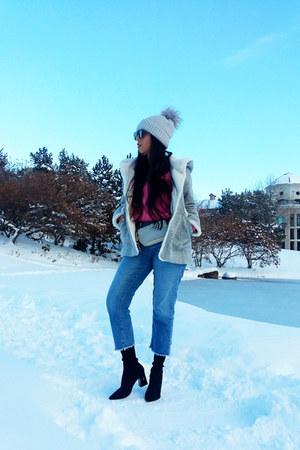 Zara boots - Zara coat - Vero Moda jeans - Topshop hat - Zara sweater