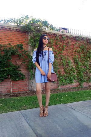 Zara bag - romwe dress - Bershka sandals