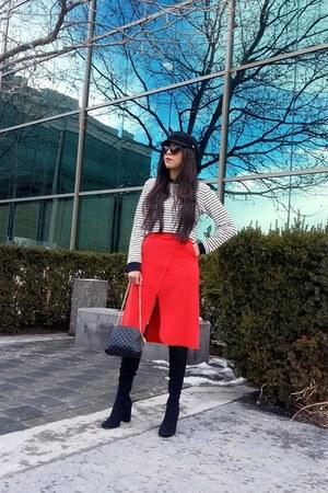 Topshop skirt - Zara boots - Steve Madden hat - Topshop t-shirt