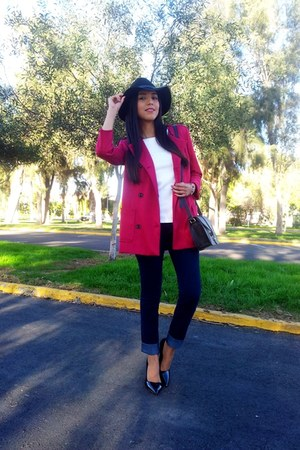 H&M hat - pull&bear coat - H&M jeans - Forever 21 bag - Zara heels