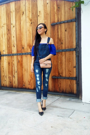 blue romwe blouse - Zara shoes - Mango bag - LOB jumper