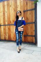 blue romwe blouse - Zara shoes - Mango bag - LOB jumper