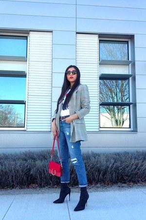 Zara blazer - Aldo boots - Gap jeans - Topshop bag - karllagerfeld t-shirt