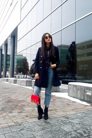 Topshop coat - Zara boots - Topshop jeans - Topshop bag
