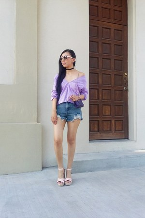 violet Sheinside shorts - Forever 21 sunglasses - Gap blouse - asos necklace