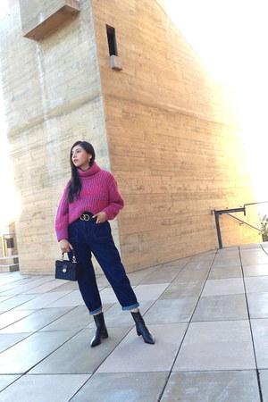 Zara boots - Zara jeans - Topshop sweater - Zara bag
