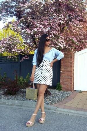 Zara skirt - Old Navy blouse - Bershka wedges