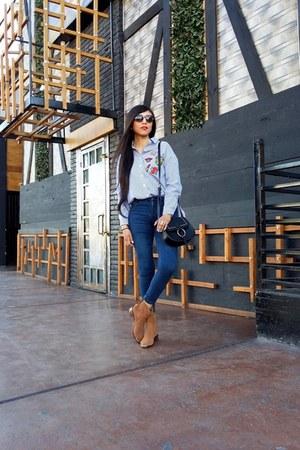 Sheinside blouse - Stradivarius shoes - pull&bear jeans - pull&bear bag
