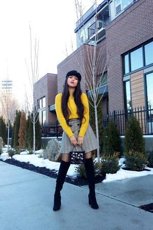 Topshop bag - Zara boots - Steve Madden hat - Topshop sweater - Zara skirt