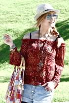 Forever 21 blouse - Bershka hat - Stradivarius sunglasses