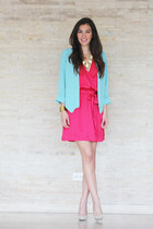 sky blue suiteblanco blazer - ruby red melao dress - beige Zara heels