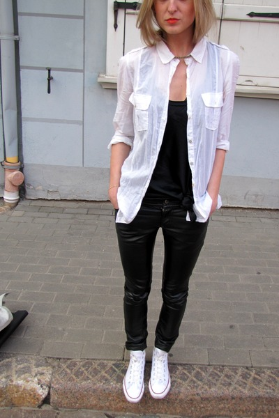 black DKNY dress - white Zara shirt - black Cubus pants - white Converse sneaker