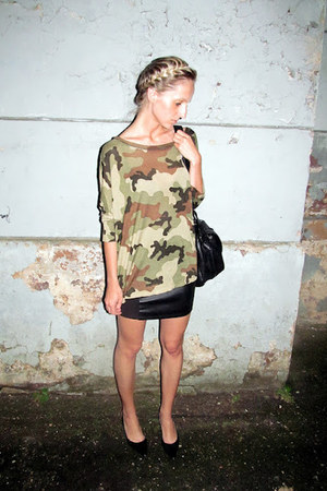 black Zara bag - army green Bik Bok shirt - black Bik Bok skirt