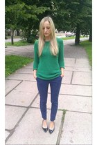 green Mango jumper - black Zara shoes - navy Zara pants