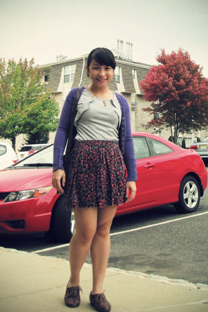 purple Zara cardigan - gray thrifted top - red Zara skirt - brown Steve Madden s
