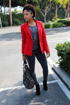 red Express blazer - green Anthropologie sweater