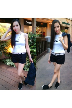 black shoes - black Forever 21 shorts - white belt