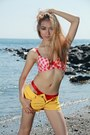 Yellow-shorts-red-calvin-klein-panties-red-checkered-bra