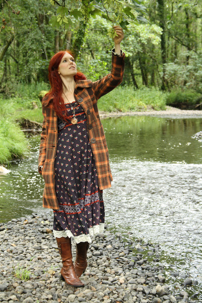caprice boots - Gunne Sax dress - thrifted coat - Pocketwatch from ebay necklace