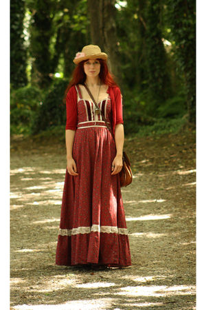 thrifted bag - red or dead shoes - Gunne Sax dress - H&M hat - thrifted cardigan
