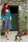 Blue-pop-dress-blue-thrifted-cardigan-red-thrifted-belt-brown-red-or-dead-