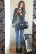 black Steve Madden boots - blue J Brand jeans - Topshop jacket - gray American A