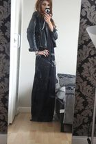 black H&M dress - black Topshop jacket - blue Urban Outfitters accessories