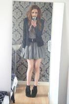 green River Island skirt - black French Connection blazer - black H&M socks - bl