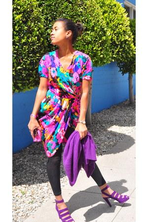 Autumn Cashmere cardigan - Vintage silk flower print dress - DKNY sandals