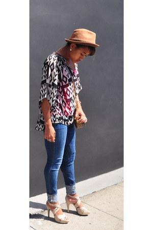 Forever 21 top - blue Genetic Denim jeans - brown LiViTY hat - tory burch bag