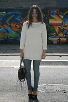 black Steve Madden heels - eggshell Zara sweater - black botkier bag