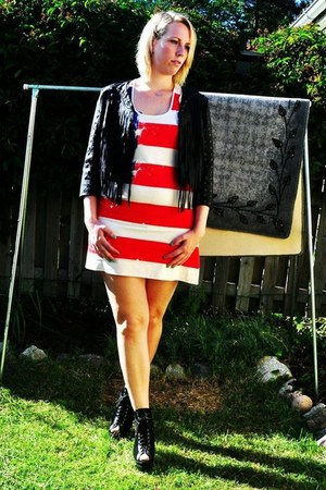 jacket - dress - heels