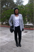 gray vintage newport news blazer - white asos t-shirt - black Wet Seal jeans - b