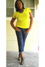 Yellow-outlooks-t-shirt-blue-old-navy-jeans-brown-wild-diva-boots-blue-wal