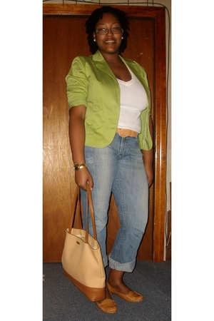 green Goodwill blazer - beige patent loafers Walmart shoes - blue H&amp;M jeans