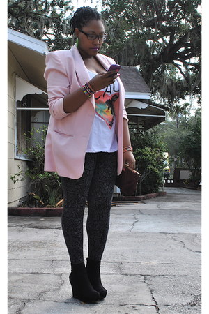 light pink Lord & Taylor blazer - dark gray Forever 21 leggings