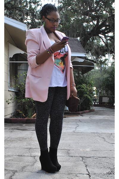 light pink Lord & Taylor blazer - dark gray Forever 21 leggings