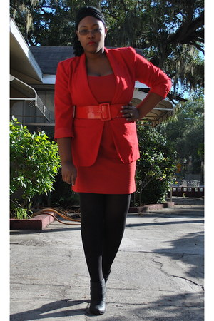 red thrifted blazer - red Forever 21 dress - red random brand belt - black Walma