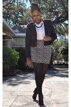 black Forever 21 jacket - white Kmart shirt - heather gray Forever 21 skirt - bl