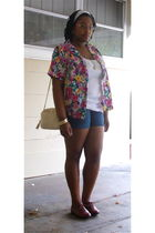 pink thrifted blouse - white Old Navy top - blue Old Navy shorts - brown Target