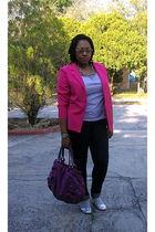 pink vintage blazer - gray alloy t-shirt - blue Wet Seal jeans - silver Urbanogc