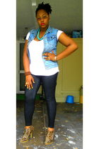 brown wild diva boots - blue DIY vest - white Wet Seal t-shirt - black Forever 2